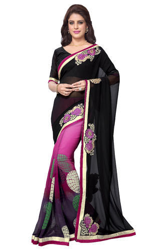 9a8f09122d Black And Pink Printed Mirchi Fashion Black N Pink Faux Georgette Party  Wear Saree