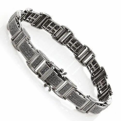 29387244d92 Men's Black Diamond Bracelet 2.54 ct Black Rhodium Plated Silver. Rs 45,000/ Piece Get Latest Price