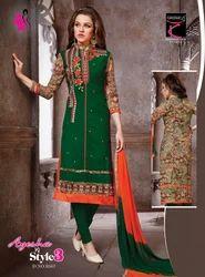 Green Round Georgette Designer Suit