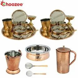 Choozee - Stainless Steel Copper Thali Dinner Set with Serveware & Hammered Pitcher Jug (25 Pcs)