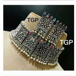 Alloy Artificial Oxidized Choker Necklace Set
