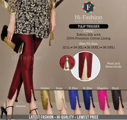 Plain Ladies Tulip Silk Trouser Latest Style Lycra Party Wear Pant