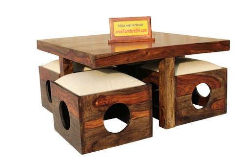Honey Oak Dhi Solid Wood Square Coffee Table 4 Persons Dn12 Rs