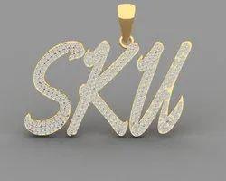 Three Big Alphabet Full Diamond Name Pendant In 14K Gold