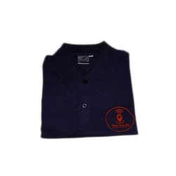 Printmatte Blue Advertising Full Sleeves Embroidered T Shirt