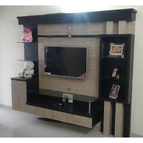 brown black lcd tv wall unit rs 27000 unit wood pecker id rh indiamart com