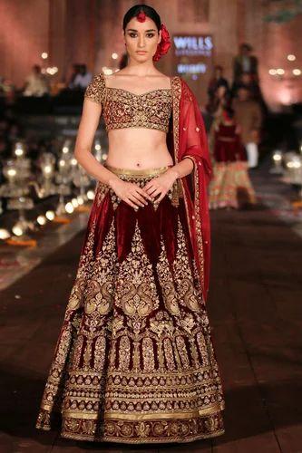 849b258072 Velvet Maroon Embroidered Work Bridal Wear Lehenga Choli, Rs 4995 ...