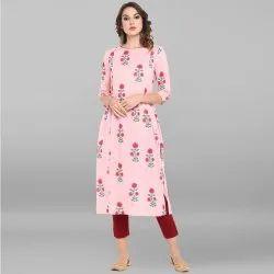 Janasya Women's Pink Pure Cotton Kurta