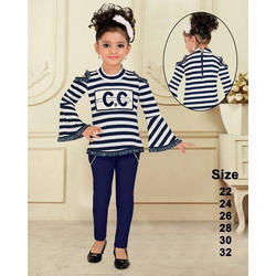 Blue Cotton Girls Kids Top And Jeans, Size: 22, 24, 26, 28, 30, 32