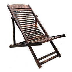 Natural Brown Cane Folding Chair