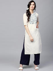 WHITE SOLID KURTA WITH EMBROIDERED YOKE