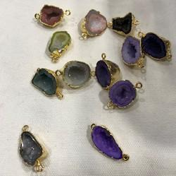 Gemstone Druzy Bezel Connectors Purple White Green Blue Black Electroplated