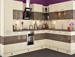 Plywood L Shaped Modular Kitchen, Height: 8 Feet