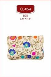 EMBROIDERED, RAW SILK Shree Shyam Products Embroidered Clutch Bag