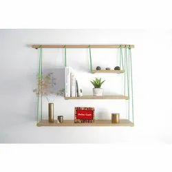 Green, Brown Wood Wall Shelf, Packaging Type: Corgated Carton, Corner Spench