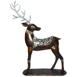 Master Crafts Multicolor Iron With Glass Work Table Decor Back Neck Deer