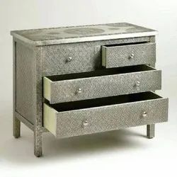 Wooden Grey Emboss Table Furniture for Home, Size: 48x24x36 Inch