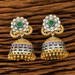 Green, Ruby, Blue Indo Western Jhumki Earring with 2 Tone Plating 100261