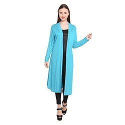 4765814876 Blue Womens Stylish Cotton Viscose Long Shrug