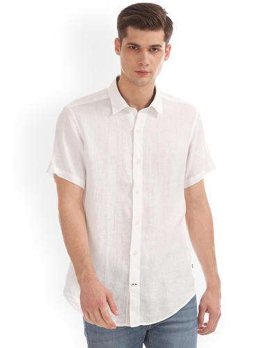 5f8508201a8 Men Cotton White Half Sleeve Shirts