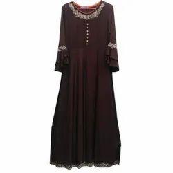 Party Wear Cotton Ladies Long Gown, Size: S-XL