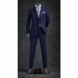 Formal Wear Plain Navy Blue Merino Wool Mens Suit