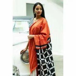 Ladies Cotton Mulmul Batik Printed Saree