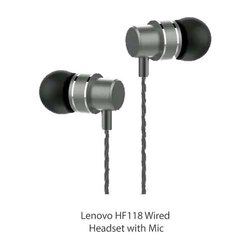 Black In The Ear Lenovo HF118 Wired Headset with Mic