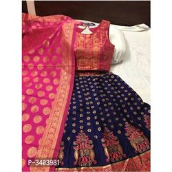 Art Silk Party Wear Ladies Padded Blouse Lehenga Choli With Banarasi Dupatta