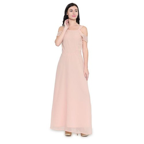 Cotton Party Wear WS-044 Plain Fancy Maxi Dress