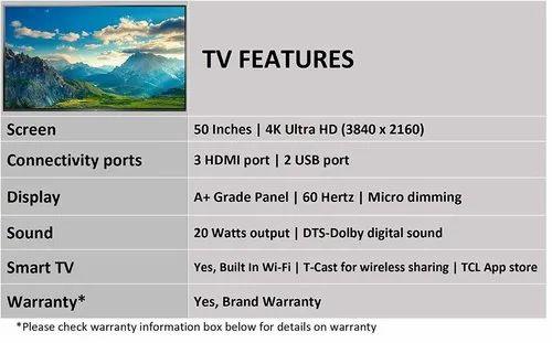 TCL 125 64 cm (50 inches) 4k UHD Smart LED TV 50P65US (Black)