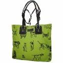 Ladies Canvas Green Handbags