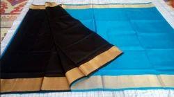 Black And Sky Blue Uppada Pure Pattu Saree