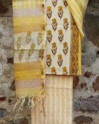 Unstitched White,Yellow Ladies Cotton Suit With Kota Doria Dupatta, Machine Wash