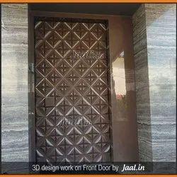 Brown Wood 3D Front Door Door Jali for Home, Office And Restaurant