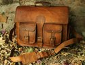 Leather Messenger Briefcase Bag for Mens