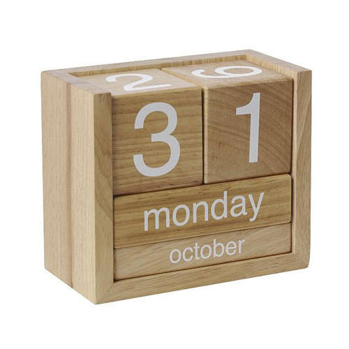 Clock Wooden Desk Calendar Good Looking