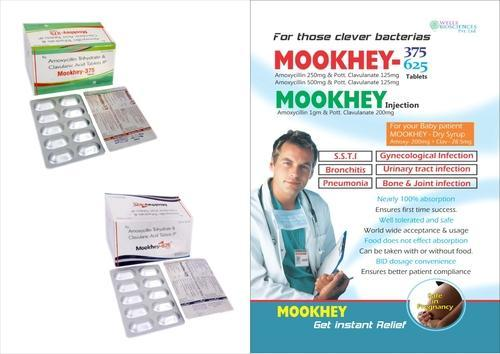 Mookhey-625 Amoxicillin Clavulanic Acid Tablet, 10 X 10 Tablets, Packaging Type: Strips
