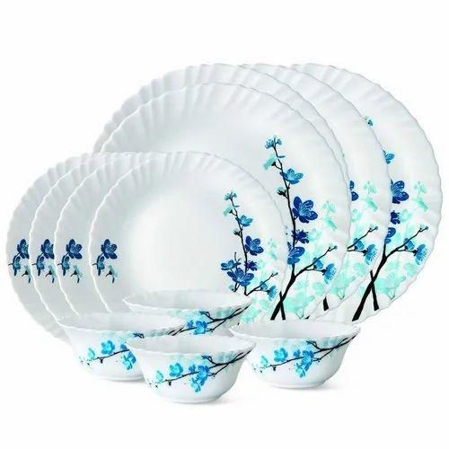 White Larah by Borosil Mimosa 12 Pcs Dinner Set