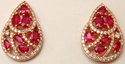 brilliant prong set diamond studded pear shaped ruby earrings