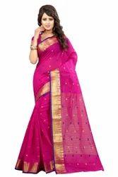 Designer Pink Gulabi Poly Cotton Sarees