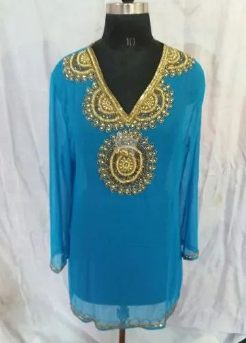 A-Line Full Sleeve Ladies Beaded Designer Kurtis