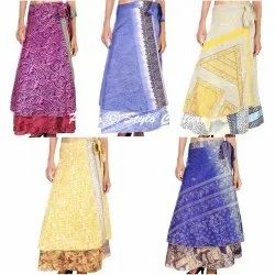Hippie Reversible Wrap Around Maxi Recycled Sari Skirt
