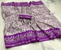 Party Wear Printed Batik Silk Saree