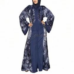 Navy Blue Dual Faux Fur Abaya