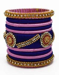 Blue and Pink Handmade Thread Bangle
