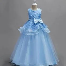 Stitch Embroidered Sky Blue Party Wear Kids Gown, Size: 34-38