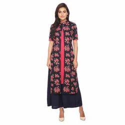 9482599b366881 Half Sleeve Ethnic Wear Floral Printed Long Flared Kurta