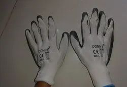 Grey White nitrile coated Hand Gloves, Size/Dimension: Large