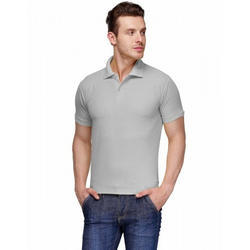 Mens Grey Polo T Shirt